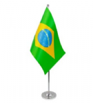 Brazil Desk / Table Flag with chrome stand and base.